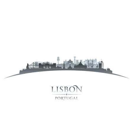Lisbon Portugal city skyline silhouette. Vector illustration Фото со стока - 48508827