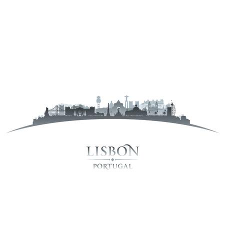 lisbon: Lisbon Portugal city skyline silhouette. Vector illustration