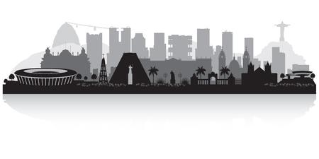 de Janeiro Brazilië skyline vector silhouet illustratie Stock Illustratie