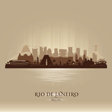 janeiro: Rio de Janeiro Brazil city skyline vector silhouette illustration