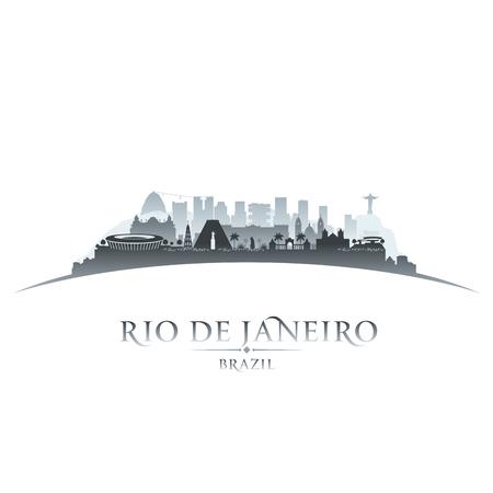 skyline city: Rio de Janeiro Brazil city skyline silhouette. Vector illustration