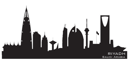 arabia: Riyadh Saudi Arabia skyline Detailed silhouette Illustration