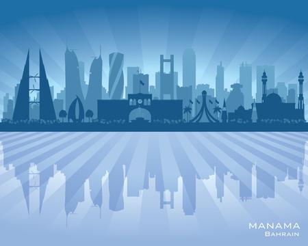 Manama Bahrain ville skyline silhouette illustration Vecteurs
