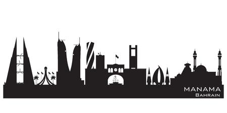 outlook: Manama Bahrain skyline Detailed  silhouette