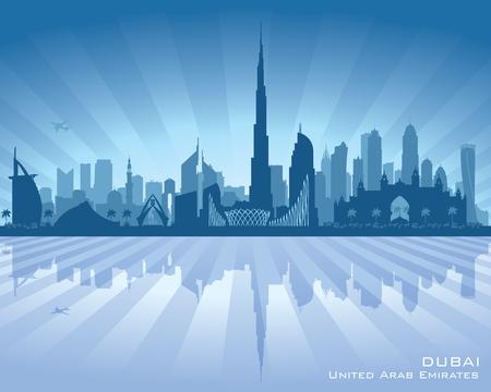 cityscape silhouette: Dubai UAE city skyline silhouette illustration