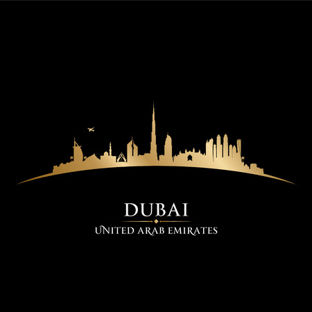 Dubai UAE skyline Detailed silhouette Illustration