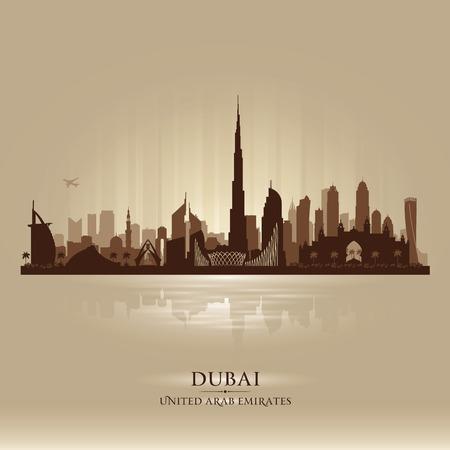 두바이 아랍 에미리트 도시의 스카이 라인 실루엣 그림