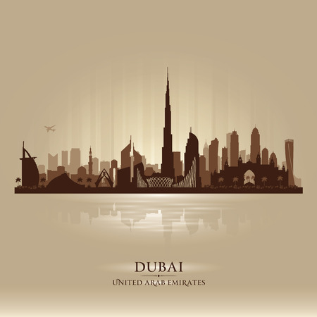 Dubai UAE city skyline  silhouette illustration