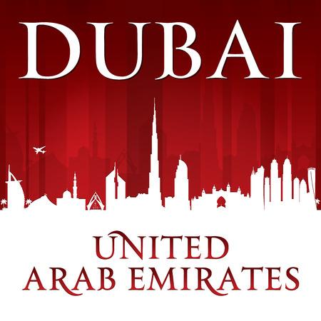 sky scraper: Dubai UAE city skyline silhouette. Illustration