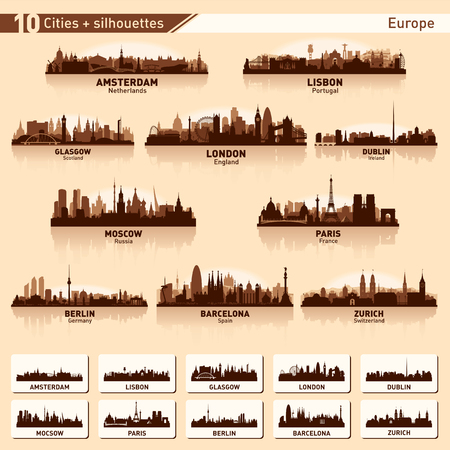 City skyline set. Europe. Vector silhouette illustration. Vectores