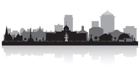 Illustrazione della siluetta di vettore dell'orizzonte della città di Montgomery Alabama
