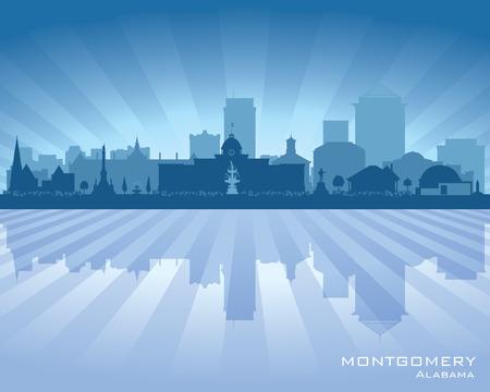 tower tall: Montgomery Alabama city skyline vector silhouette illustration Illustration