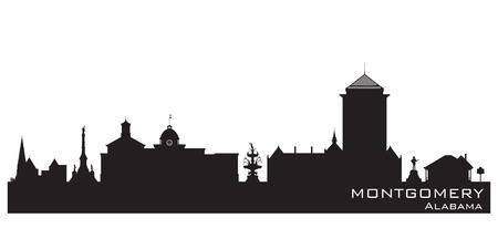 alabama: Montgomery Alabama skyline Detailed vector silhouette