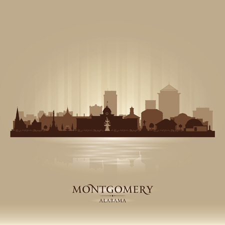 scraper: Montgomery Alabama city skyline silhouette illustration Illustration