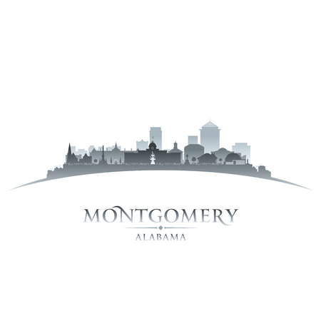 Montgomery Alabama horizonte de la ciudad silueta. ilustración Ilustración de vector