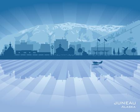 alaska: Juneau Alaska city skyline vector silhouette illustration Illustration