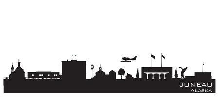 sky line: Juneau Alaska skyline Detailed vector silhouette Illustration