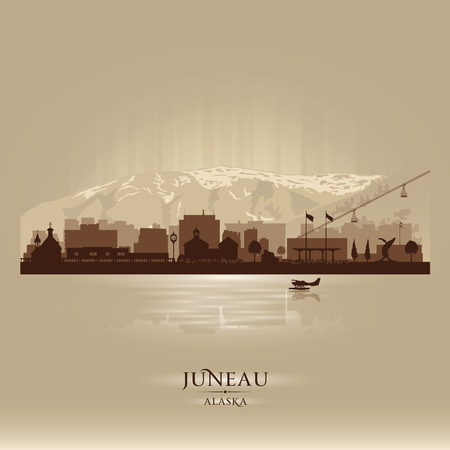 scraper: Juneau Alaska  city skyline vector silhouette illustration