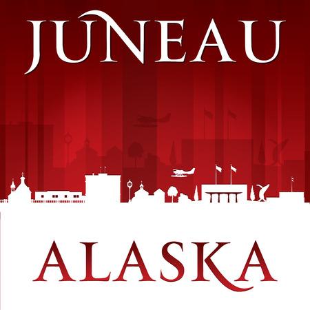 Juneau Alaska city skyline silhouette. Vector illustration 向量圖像