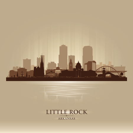 scraper: Little Rock Arkansas city skyline vector silhouette illustration