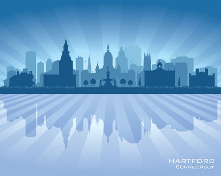 hartford: Hartford Connecticut city skyline vector silhouette illustration