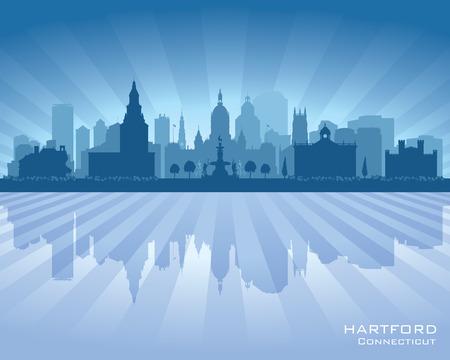 Hartford Connecticut city skyline vector silhouette illustration