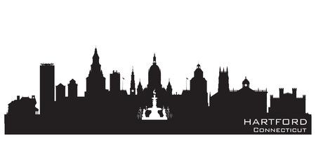 hartford: Hartford Connecticut skyline Detailed vector silhouette