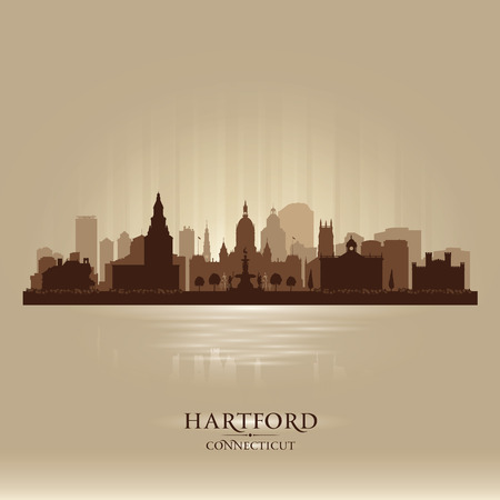 scraper: Hartford Connecticut city skyline vector silhouette illustration