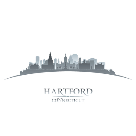 Hartford Connecticut city skyline silhouette. Vector illustration