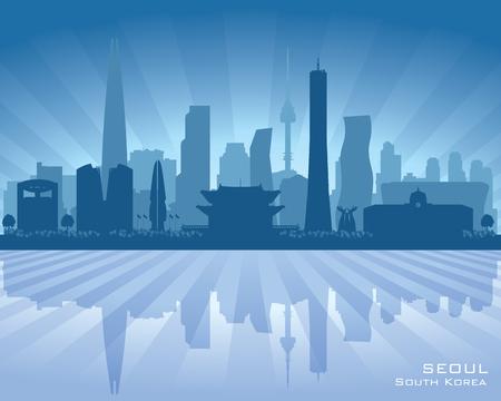 modern office: Seoul South Korea city skyline vector silhouette illustration. Illustration