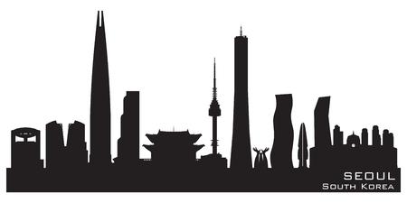 building: Seoul South Korea skyline Detailed vector silhouette.