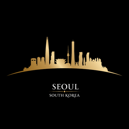aisa: Seoul South Korea city skyline silhouette.