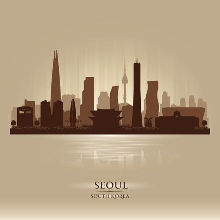 Seoul South Korea city skyline vector silhouette illustration. Illustration