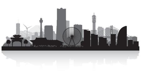 横浜日本都市スカイライン ベクトル シルエット イラスト 写真素材 - 76800417