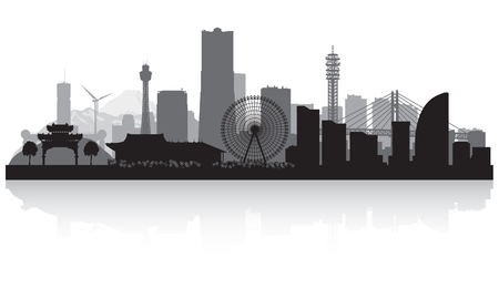 Yokohama Japan city skyline vector silhouette illustration