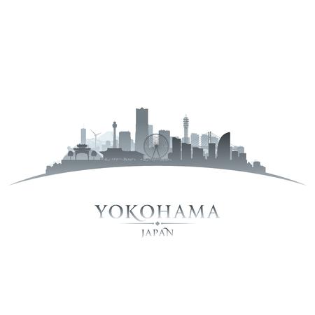 横浜日本都市スカイライン シルエット。ベクトル図