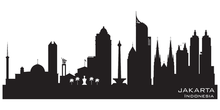 Jakarta Indonesia skyline Detailed vector silhouette 일러스트