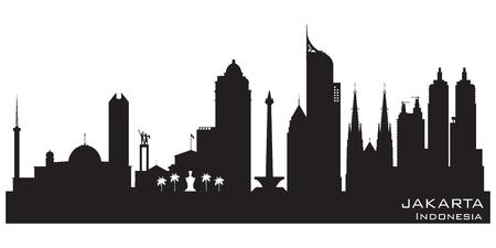 Jakarta Indonesië skyline Gedetailleerde vector silhouet Stock Illustratie