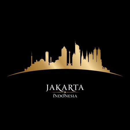 dark: Jakarta Indonesia skyline Detailed vector silhouette Illustration