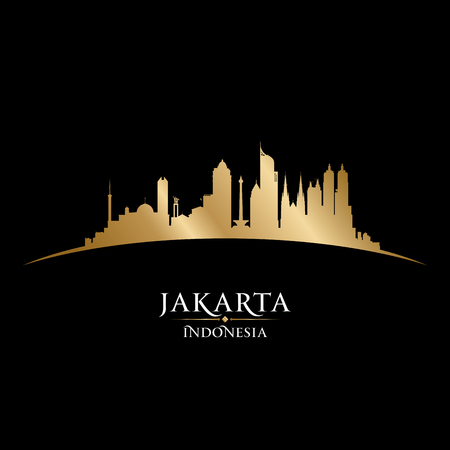 Jakarta Indonesia skyline Detailed vector silhouette Illustration