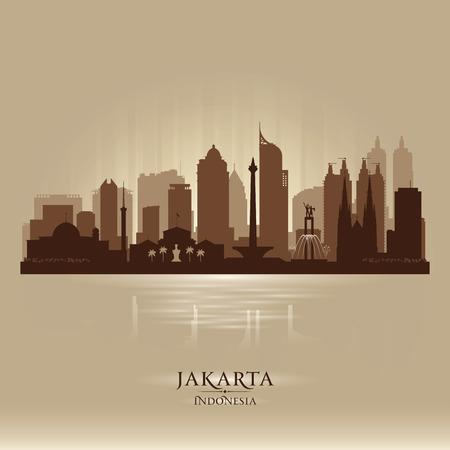 ジャカルタ インドネシア都市スカイライン ベクトル シルエット イラスト