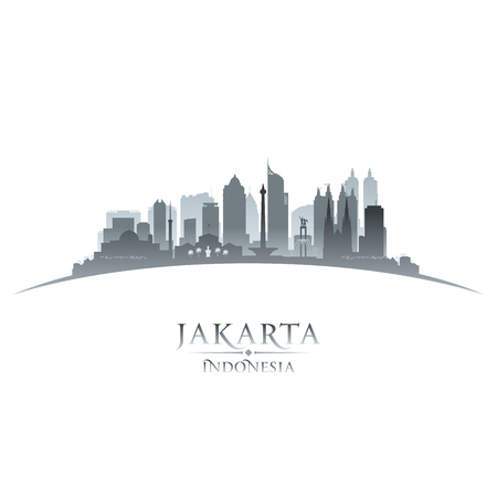 ジャカルタ インドネシア都市スカイライン シルエット。ベクトル図