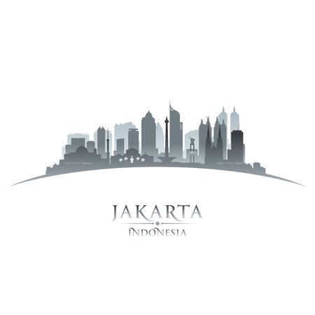 Jakarta Indonesia city skyline silhouette. Vector illustration Illustration