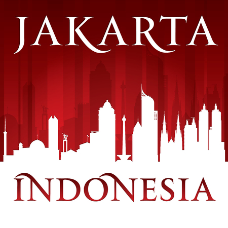 Jakarta Indonesia city skyline silhouette. Vector illustration Illustration