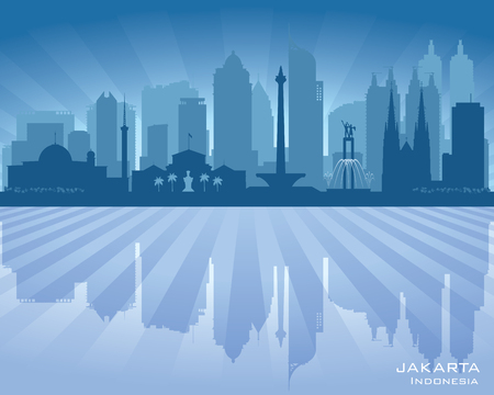 modern office: Jakarta Indonesia city skyline vector silhouette illustration Illustration