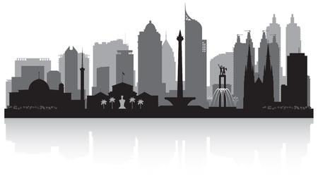 Jakarta Indonesia city skyline vector silhouette illustration Stock Illustratie