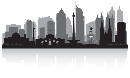 Jakarta Indonesia city skyline vector silhouette illustration Çizim