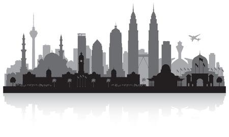 쿠알라 룸푸르 말레이시아 도시의 스카이 라인 벡터 실루엣 일러스트 레이션