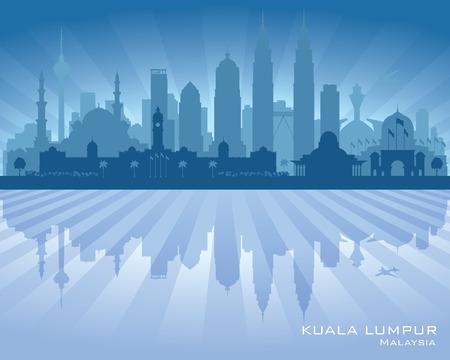 water: Kuala Lumpur Malaysia city skyline vector silhouette illustration
