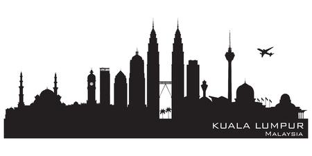 Kuala Lumpur Malaysia skyline Detailed vector silhouette 矢量图像